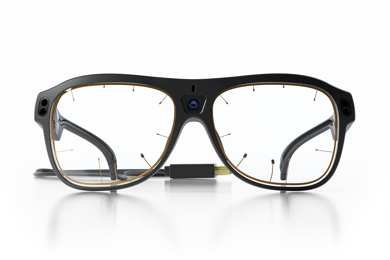 Product photo of glasses with eye tracking sensors around both eyes